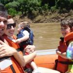 Família no Macuco, no Parque das Cataratas