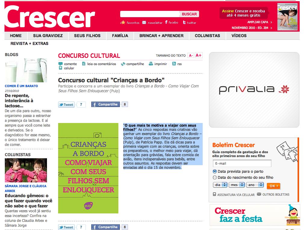 """Concurso Cultural """"Crianças a Bordo"""" na Revista Crescer."""