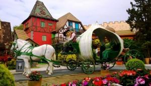 Viagem com crianças Beto Carrero Parada Mágica Shrek e Fiona Carruagem Cebola