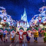 "Dressed in their holiday finest, the Seven Dwarfs parade down Main Street, U.S.A., at Magic Kingdom during ""Mickey's Once Upon a Christmastime Parade."" The festive processional is one of the happy highlights of Mickey's Very Merry Christmas Party, a night of holiday splendor with lively stage shows, a unique holiday parade, Holiday Wishes: Celebrate the Spirit of the Season nighttime fireworks, and snow flurries on Main Street, U.S.A. The special-ticket event takes place on select nights in November and December in Magic Kingdom at Walt Disney World Resort in Lake Buena Vista, Fla. (Ryan Wendler, photographer)"