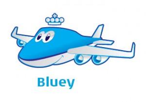 KLM com crianças Bluey