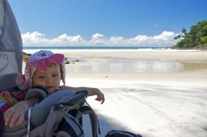 Pausa para foto na praia de Jeribucaçu