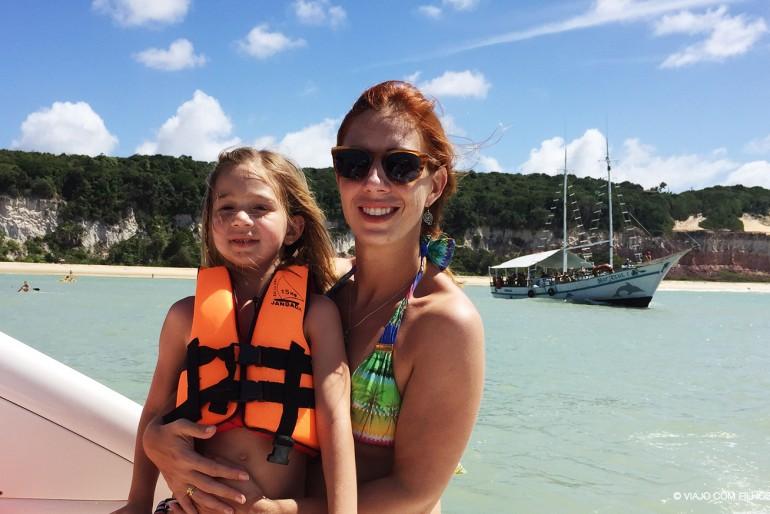 Mãe e filha de carro no litoral da Paraíba e Rio Grande do Norte