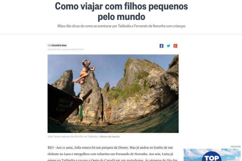 Viajo com filhos no O Globo e na Folha de São Paulo
