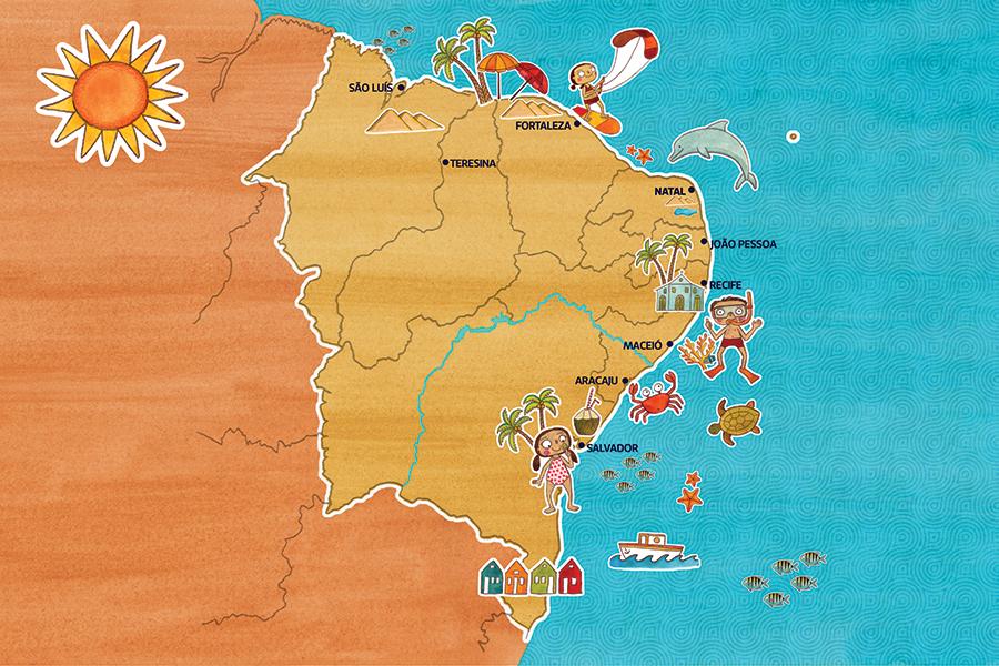 Mapa Nordeste com Crianças