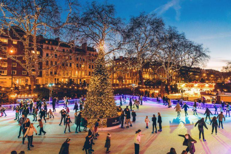 Londres no inverno: pista de patinação no gelo é imperdível