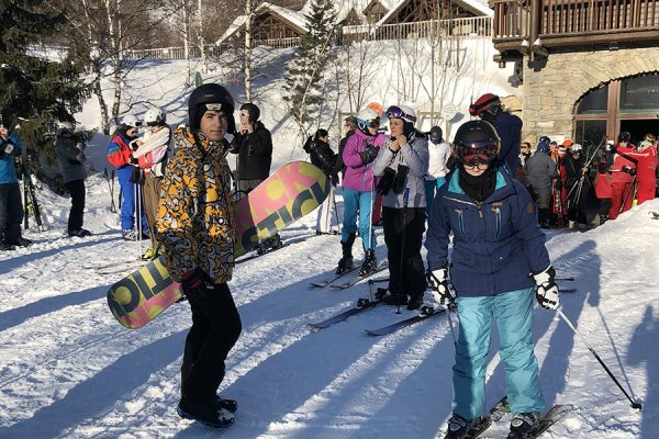 Aula de snowboard